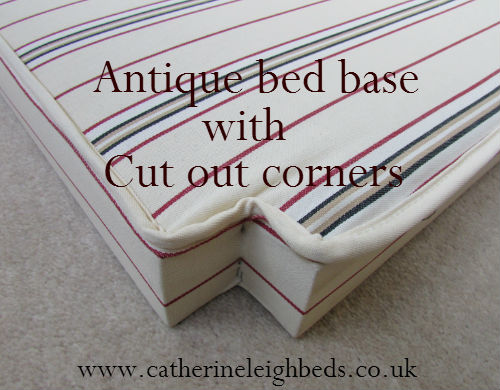 a mattress base with cut out corners to fit an unusual shape vintage wooden bed