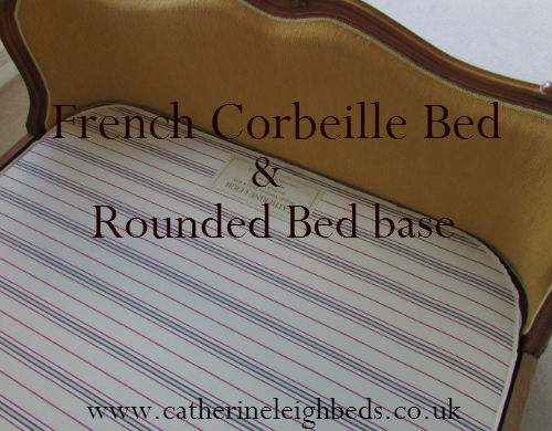 a mattress base with rounded corners shaped to fit a curved upholstered wooden antique bed