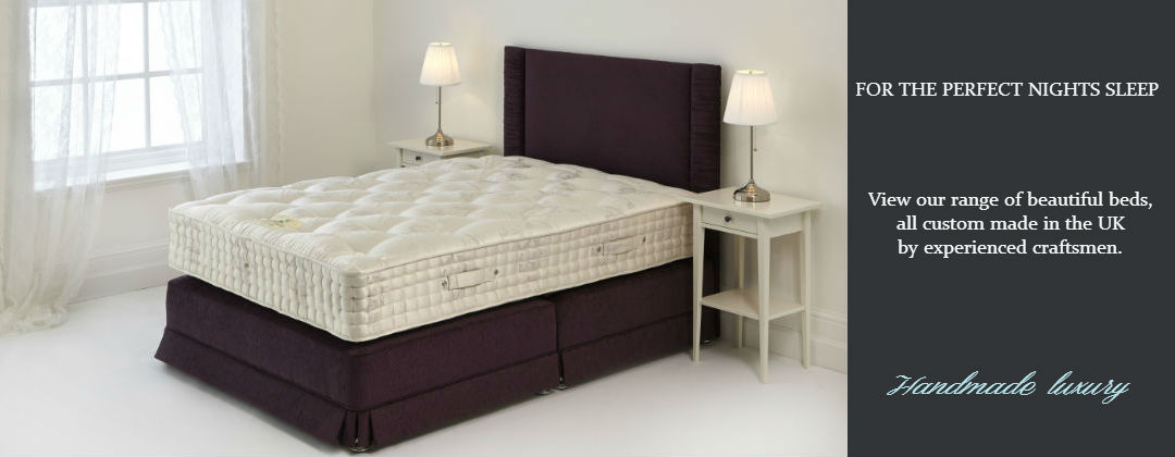 a non standard size bed base with bespoke headboard and pocket sprung mattress