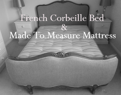 Shaped made to measure mattressfitted on a curved corbeille bed